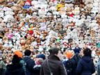 PHOTO: Berlin school students setup 740 teddy bears on the steps of the Konzerthaus concert hall to draw awareness to the 740,000 Syrian refugee children who cant attend the school, March 15, 2018, in Berlin, Germany.