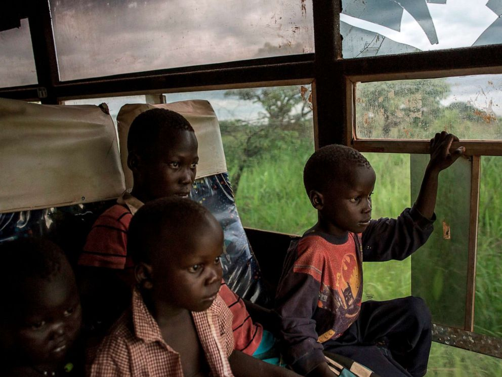PHOTO: Young South Sudanese refugees are transported from the border of South Sudan and the Democratic Republic of the Congo to a refugee settlement site in Aru, DRC, May 10, 2019.