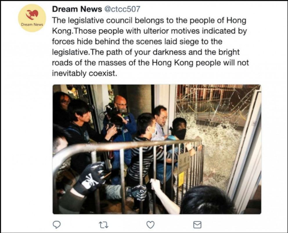 PHOTO: An example of the kinds of content that Twitter says were deliberately attempting to sow political discord in Hong Kong, including undermining the protest movement.