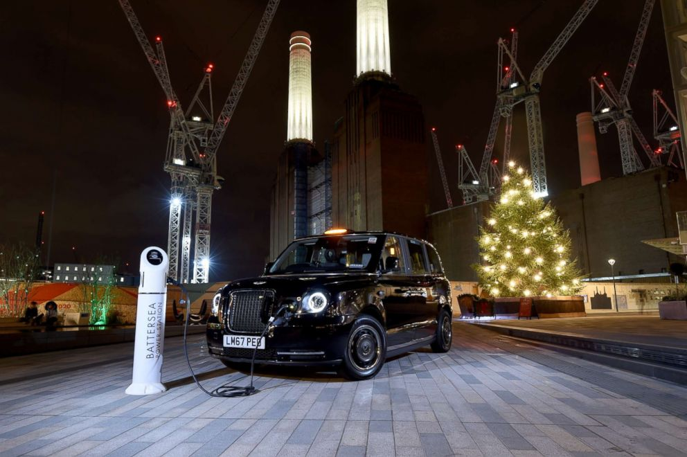 A new, electric model of London's iconic black cab, the TX eCity, is seen in a photograph provided by its manufacturer, LEVC.