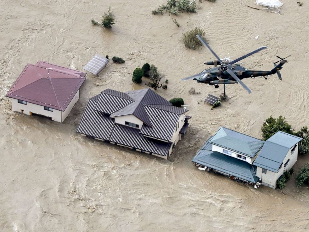PHOTO: A photo taken from a Kyodo News helicopter, Oct. 13, 2019, shows houses in Nagano, central Japan, submerged after the Chikuma River overflowed due to Typhoon Hagibis.