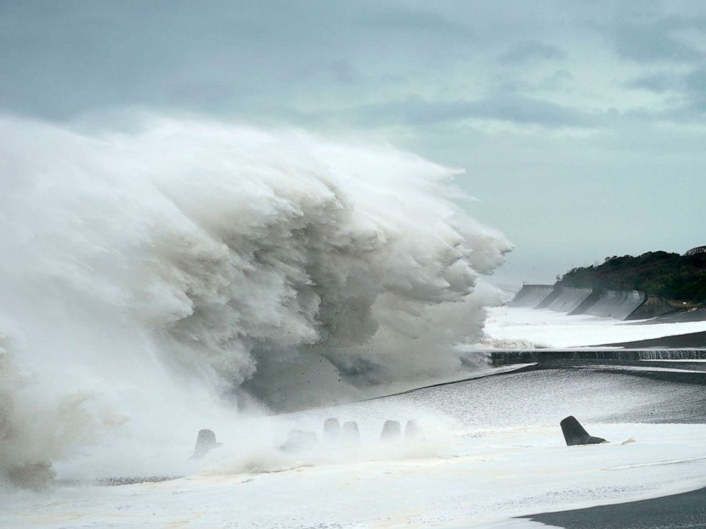 PHOTO: Surging waves generated by typhoon Hagibis hit the seashore in Mihama, Mie Prefecture, Japan, Oct. 12, 2019.