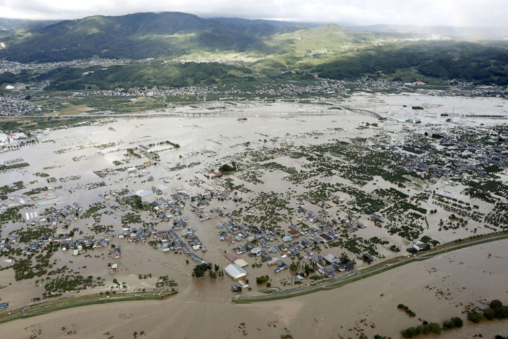 PHOTO: An aerial view shows residential areas flooded by the Chikuma river, caused by Typhoon Hagibis in Nagano, central Japan, Oct. 13, 2019.
