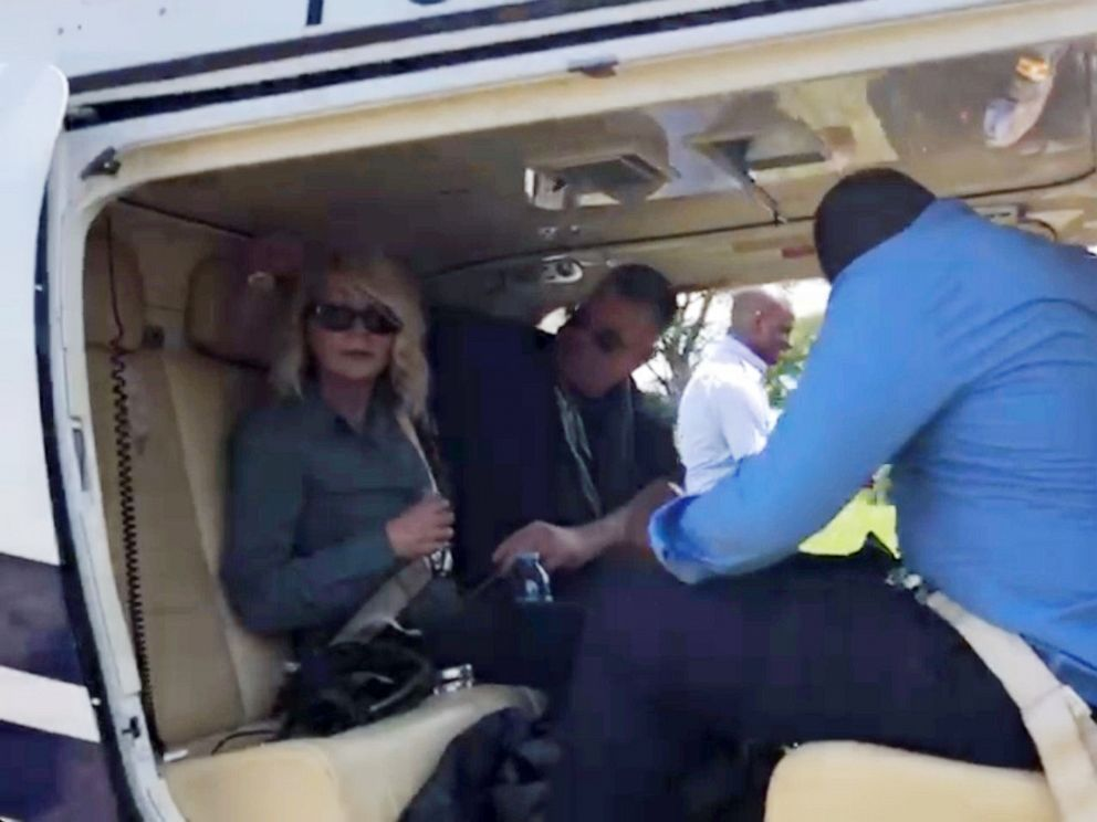 PHOTO: U.S. tourist Kimberly Sue Endicott is seen after her rescue as she departs for Kampala, Uganda, in this still image taken from a video obtained by social media on April 9, 2019.