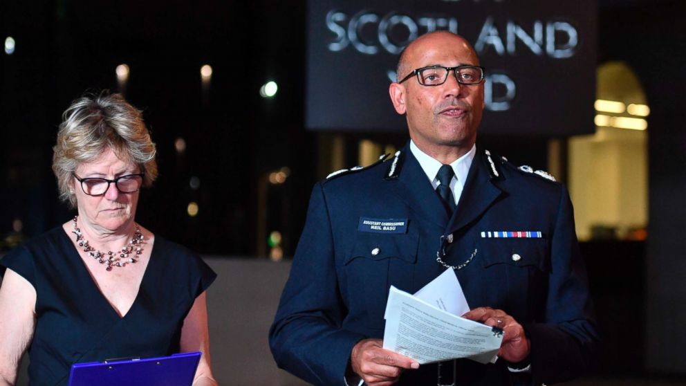 The UK's head of counter-terrorism policing Neil Basu, right, and chief medical officer for England Dame Sally Davies speaking at a news conference at New Scotland Yard in London, July 4, 2018.  British police say couple who are critically ill were exposed to Russian nerve agent Novichok.