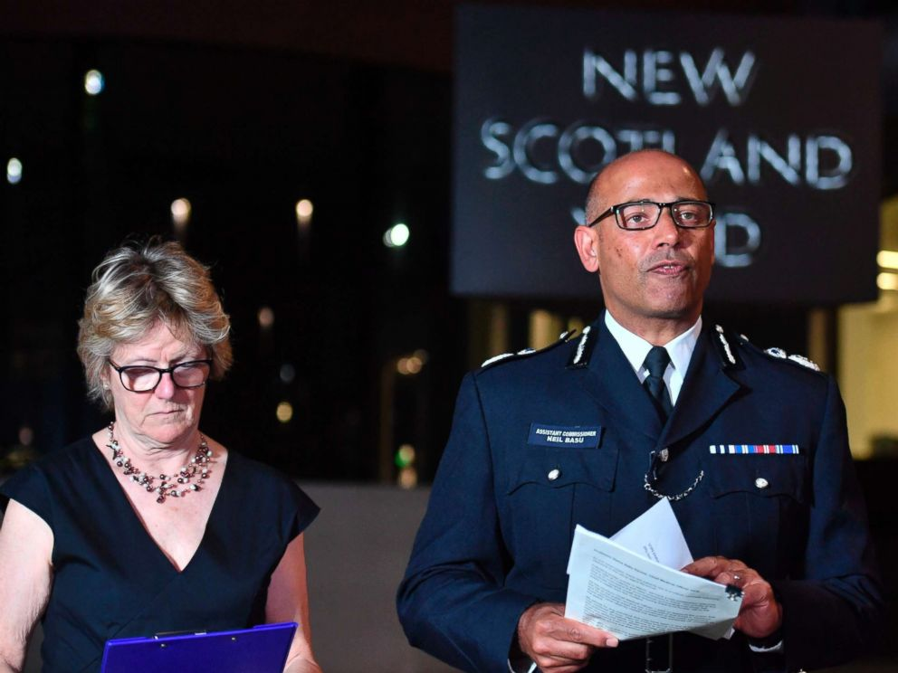 PHOTO: The UKs head of counter-terrorism policing Neil Basu, right, and chief medical officer for England Dame Sally Davies speaking at a news conference at New Scotland Yard in London, July 4, 2018.