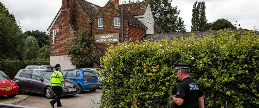 PHOTO: Police officers outside Harcourt Medical Centre by Queen Elizabeth Gardens in Salisbury, thought to be connected to a man and woman in Amesbury who are in hospital after being exposed to an unknown substance, July 4, 2018, in Salisbury, England.