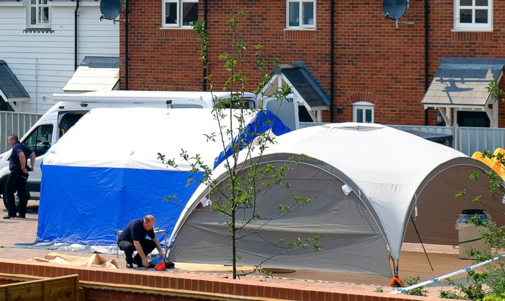 PHOTO: Police at the scene where counter-terrorism officers are investigating after a couple was left in a critical condition, in Amesbury, England, July 5, 2018.