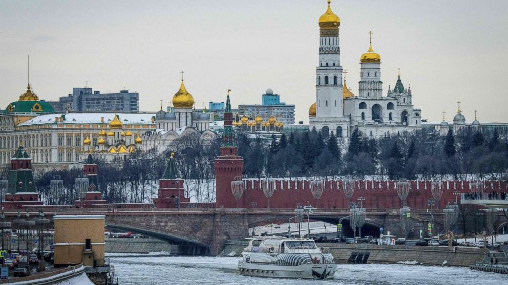 A tourist boat breaks through the frozen Moskva river outside the Kremlin in Moscow on March 13, 2018.Russia will vote for President on March 18, 2018. / AFP PHOTO / Mladen ANTONOVMLADEN ANTONOV/AFP/Getty Images