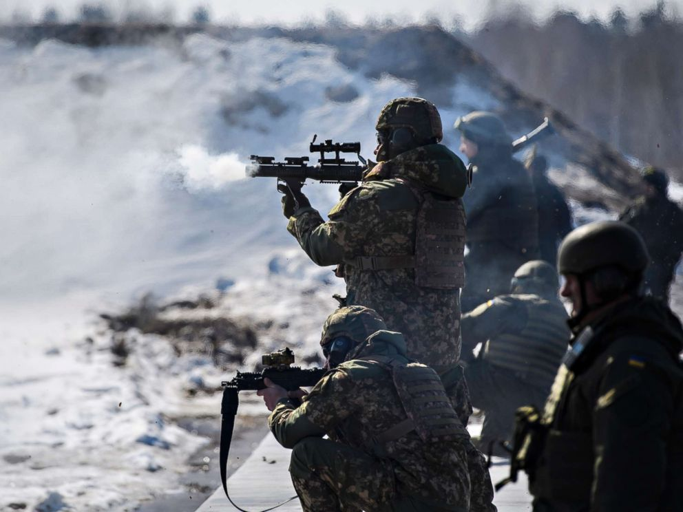 PHOTO: Soldiers of the National Guard in Kiev, Ukraine on March 26, 2018.