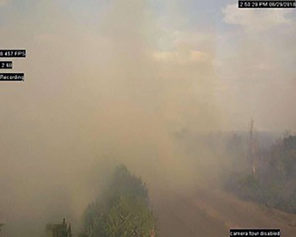 Wldfires set off land-mine explosions in Berezove,Eastern Ukraine.