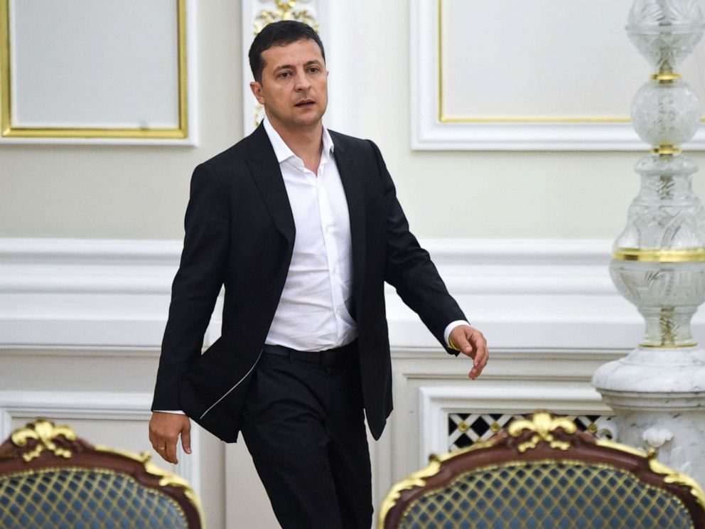 PHOTO: Ukrainian President Volodymyr Zelensky arrives for a meeting with the new members of the government and new president of Parliament, in Kiev on Sept. 2, 2019.