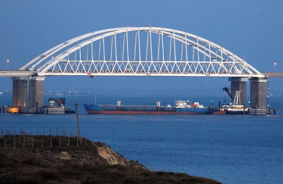 PHOTO: A view of the Crimean Bridge across the Kerch Strait is closed for the passage of civil vessels after there was reportedly an altercation between Russian and Ukrainian ships, Nov. 25, 2018.