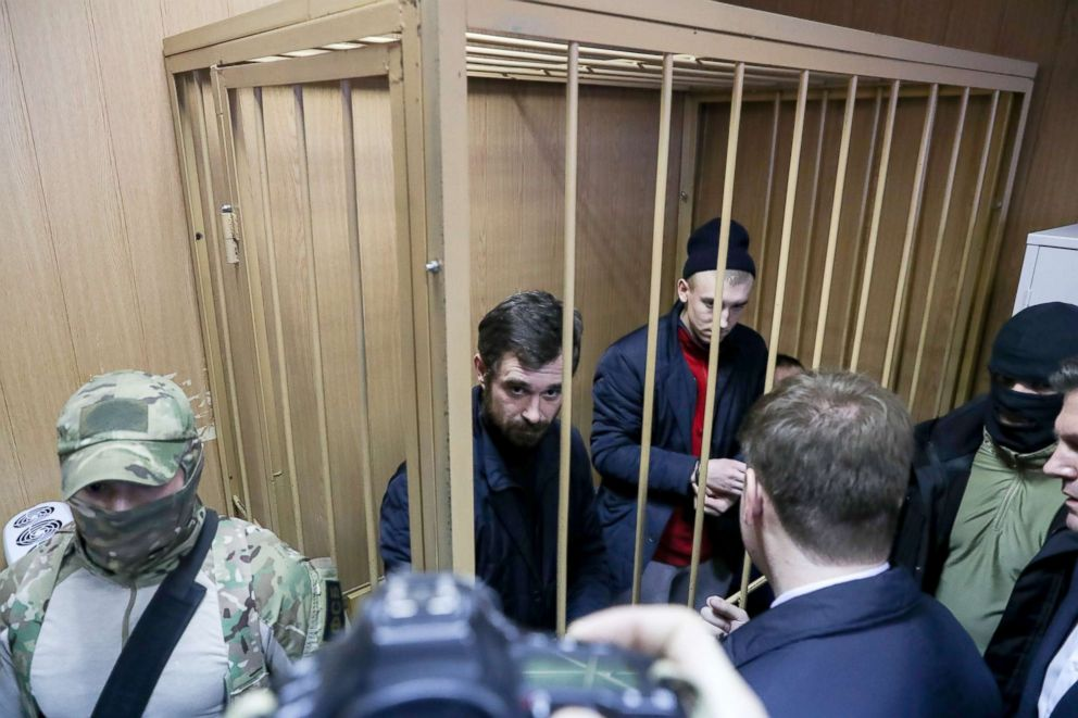 PHOTO: Defendants attend a hearing into a request by the Russian Federal Security Service (FSB) to extend arrest of Ukrainian sailors detained in the Kerch Strait at Moscows Lefortovsky District Court, Jan. 15, 2019.