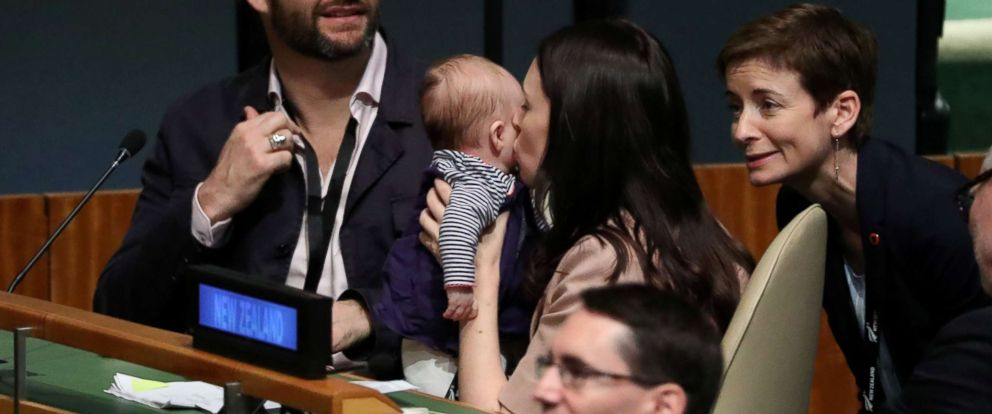PHOTO: New Zealand Prime Minister Jacinda Ardern kisses her baby Neve before speaking at the Nelson Mandela Peace Summit during the 73rd United Nations General Assembly in New York, Sept. 24, 2018.