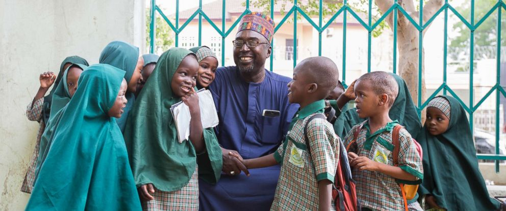 PHOTO: Zannah Mustapha and the students of the Future Prowess Islamic Foundation School before morning assembly in Maiduguri, Borno State, Nigeria, May 17, 2017.