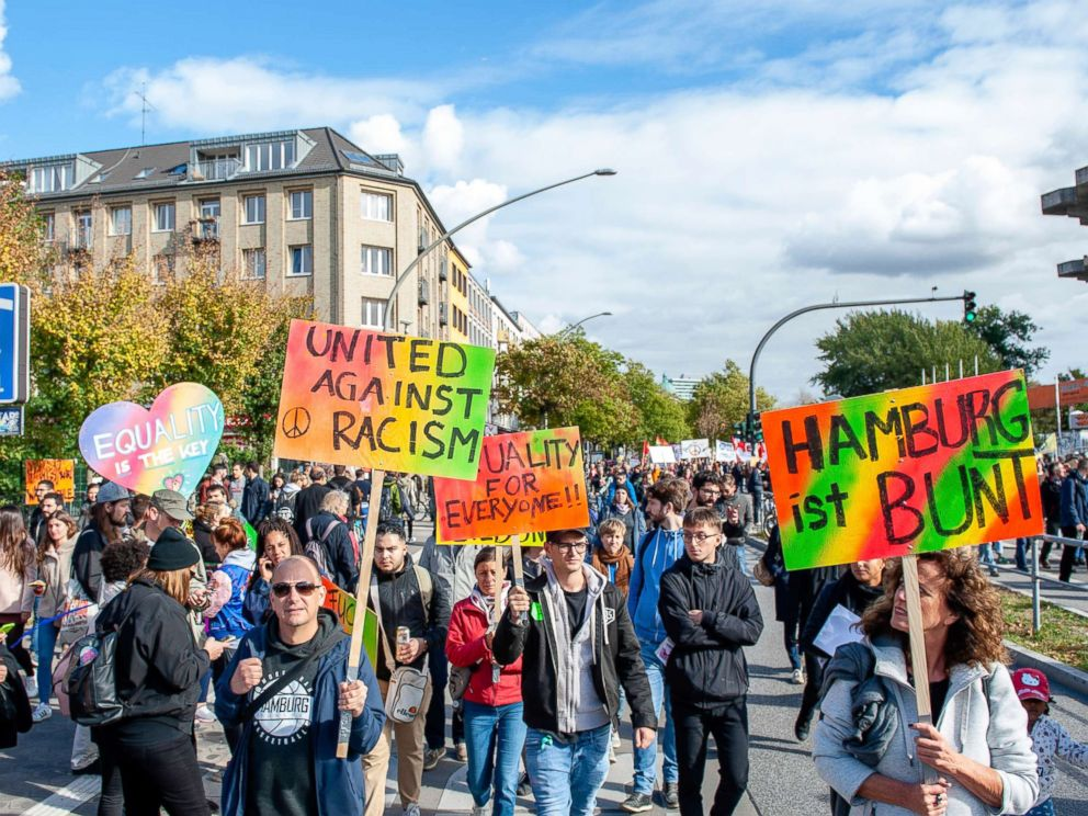 PHOTO: More than 400 initiatives call for a big demonstration under the slogan United Against Racism on Sept. 29, 2018 in Hamburg, Germany.
