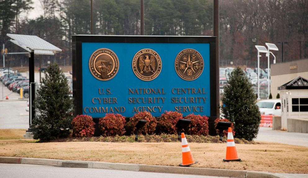 PHOTO: A sign for the National Security Agency (NSA), U.S. Cyber Command and Central Security Service, stands near the visitors entrance in Fort Meade, Md., Feb. 14, 2018.