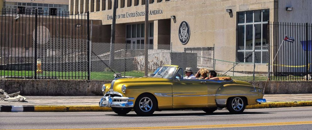 PHOTO: A classic car drives past the U.S. embassy in Havana, Cuba, Oct. 3, 2017.
