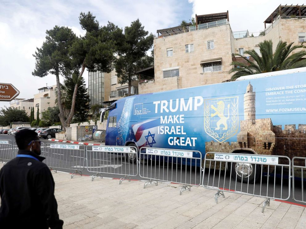 PHOTO: A bus decorated with Israeli and U.S. flags and a message welcoming the move of the U.S. embassy to Jerusalem is seen near the location of the new U.S. embassy in Jerusalem, May 13, 2018.