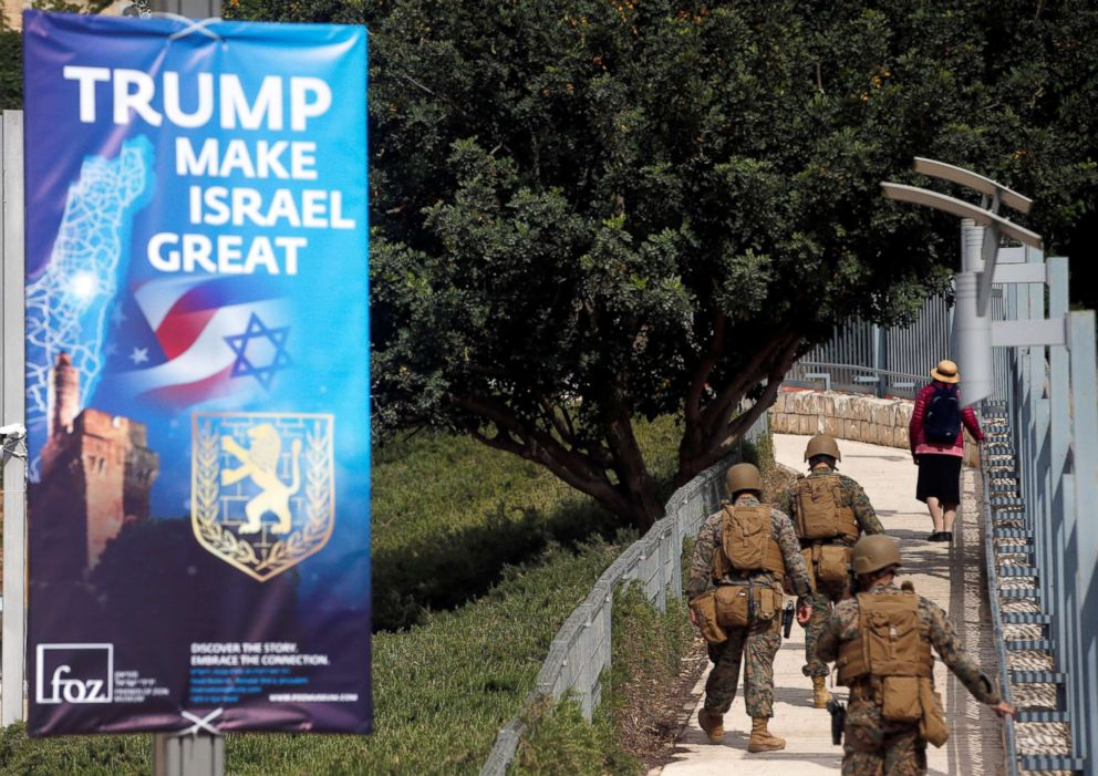 PHOTO: Military personnel patrol next to a sign welcoming the move of the U.S. embassy to Jerusalem, near the location of the new U.S. embassy in Jerusalem, May 13, 2018.