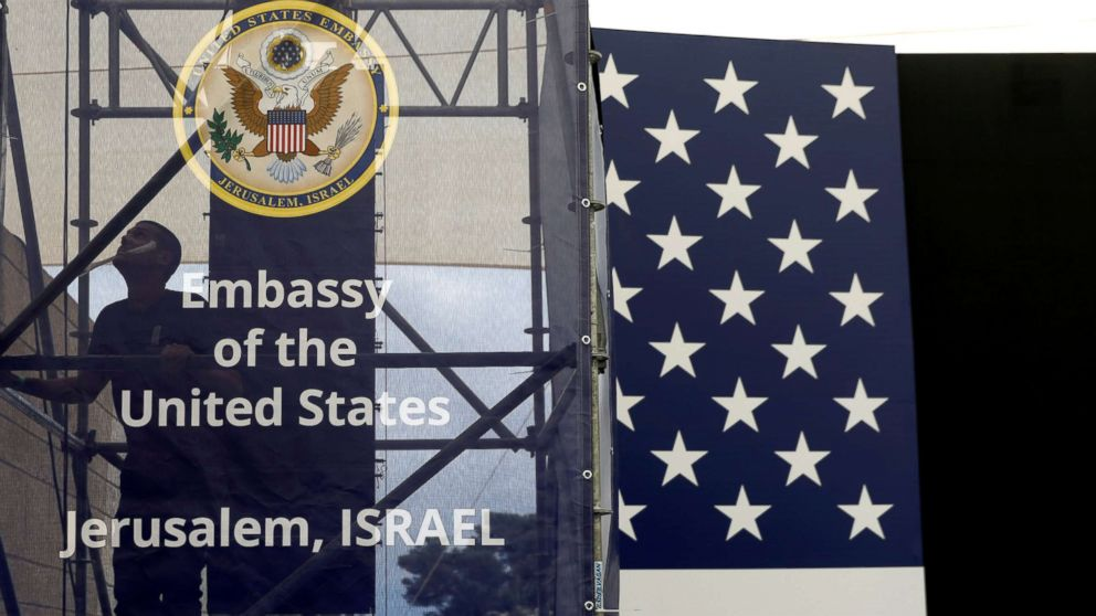 A worker is seen inside the new U.S. embassy compound during preparations for its opening ceremony, in Jerusalem, May 13, 2018.