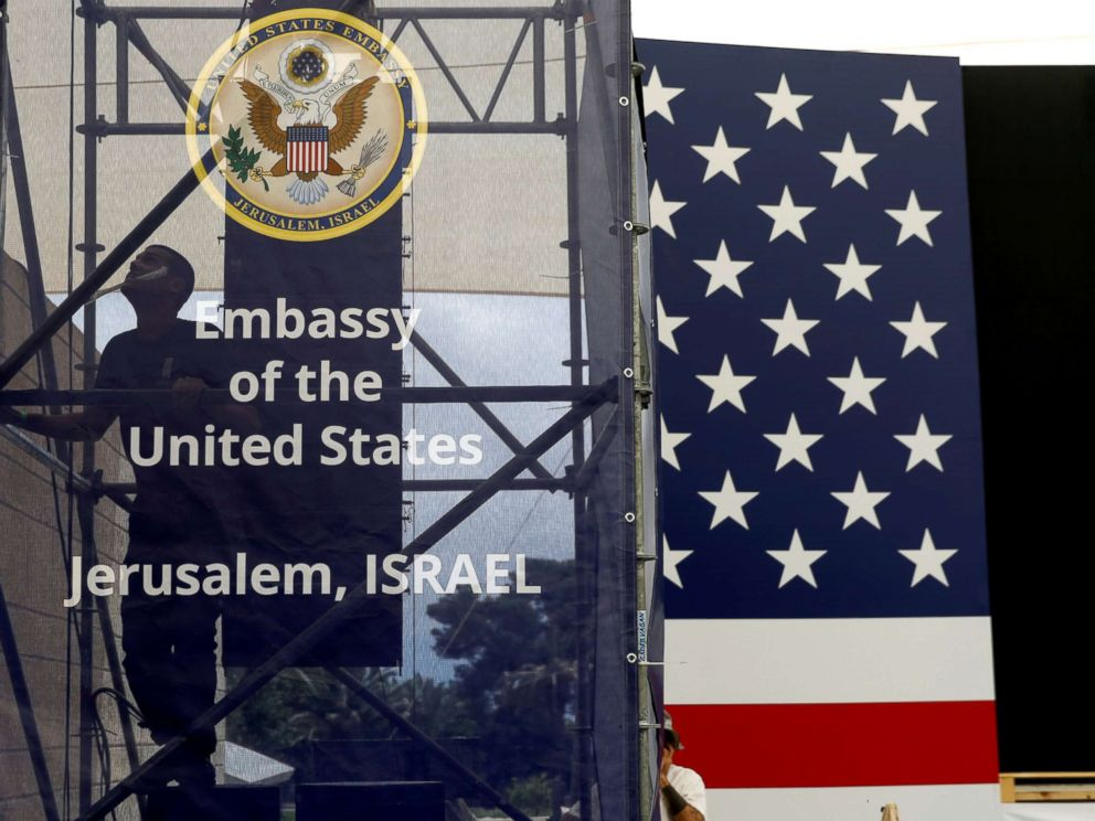 PHOTO: A worker is seen inside the new U.S. embassy compound during preparations for its opening ceremony, in Jerusalem, May 13, 2018.