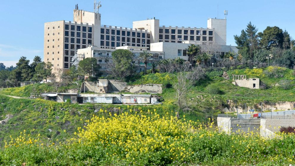 A general view of the former Diplomat Hotel, now part of the U.S. consular compound in Arnona area of Jerusalem, built on disputed territory, March 13, 2018, in Jerusalem. The compound will serve as the American Embassy until a permanent site is found.