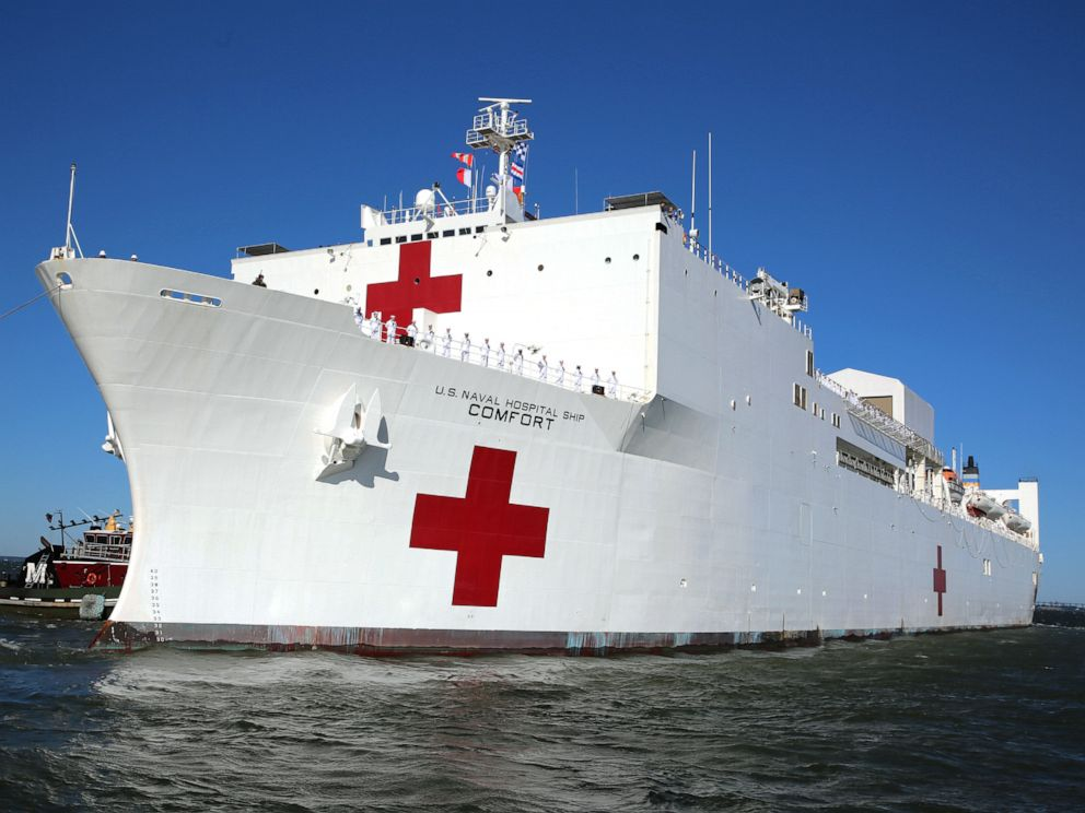 PHOTO: A view of the U.S. Navy Hospiltal Ship USNS Comfort (T-AH 20) as it gets underway from Naval Station Norfolk, June 14, 2019.