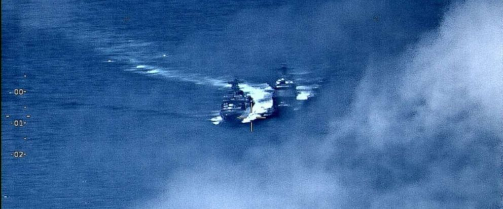 PHOTO: A U.S. Navy guided-missile cruiser was forced to execute emergency maneuvers on Friday after a Russian destroyer came between 50 and 100 feet of the American ship, the U.S. Navys Seventh Fleet said.