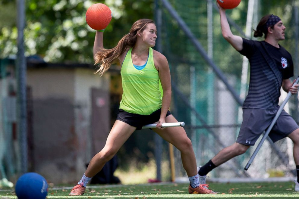PHOTO: US Quidditch beaters Hallie Pace and Jackson Johnson practice in Florence, Italy, June 26, 2018.  Harry Potter comes to Italy as Americans compete in Quidditch World Cup us quidditch team 04 ht jef 180626 hpEmbed 3x2 992