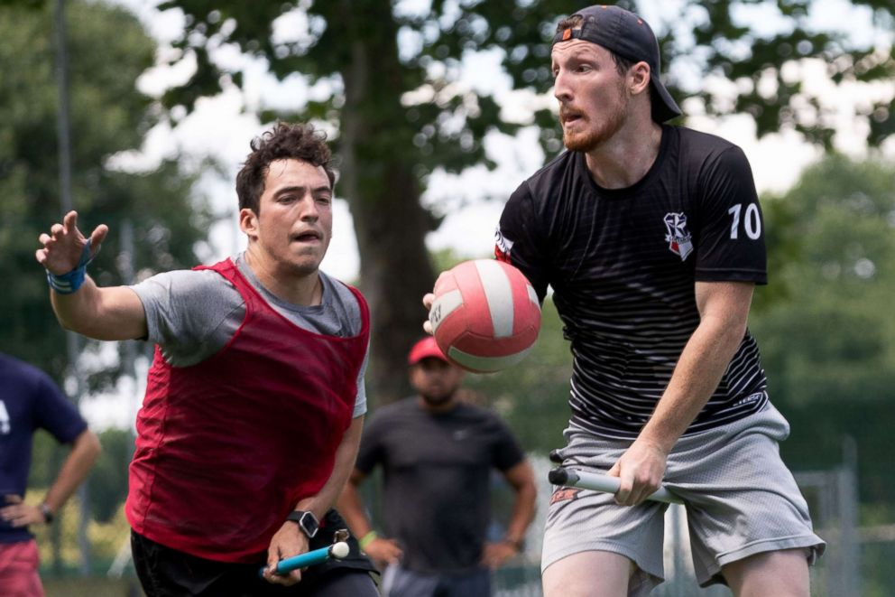 PHOTO: US Quidditch player Martin Bermudez Jr, left, pursues player Luke Langlinais, who is holding a quaffle during practice in Florence, Italy, June 26, 2018.  Harry Potter comes to Italy as Americans compete in Quidditch World Cup us quidditch team 05 ht jef 180626 hpEmbed 3x2 992