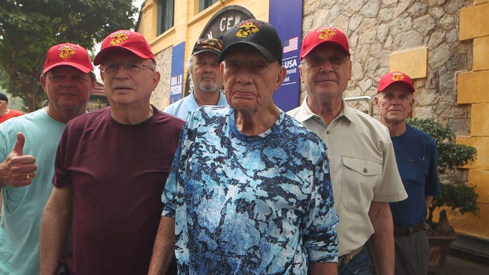 PHOTO: The men of Foxtrot 2-1 Company in the Second Battalion, First Marines, reunited in Vietnam. The reunion was organized through nonprofit the Greatest Generation Foundation.