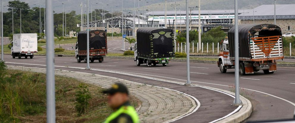 PHOTO: Cargo trucks containing humanitarian aid from the U.S for Venezuela arrive at the International Bridge Tienditas, near Cucuta, Colombia, on the border with Venezuela, Feb. 7, 2019.