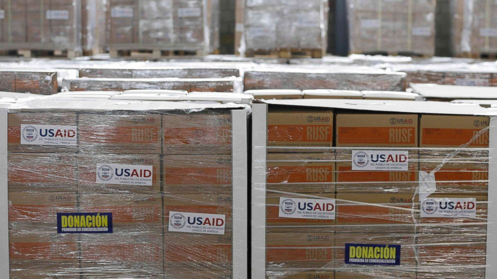 USAID humanitarian aid is stored at a warehouse next to the Tienditas International Bridge on the outskirts of Cucuta, Colombia, on the border with Venezuela, Feb. 19, 2019. The U.S. military airlifted tons of humanitarian aid as part of an effort meant to undermine socialist President Nicolas Maduro and back his rival for the leadership of the South American nation.