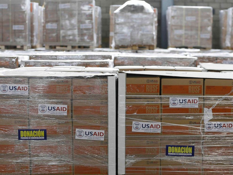 PHOTO: USAID humanitarian aid is stored at a warehouse next to the Tienditas International Bridge on the outskirts of Cucuta, Colombia, on the border with Venezuela, Feb. 19, 2019.