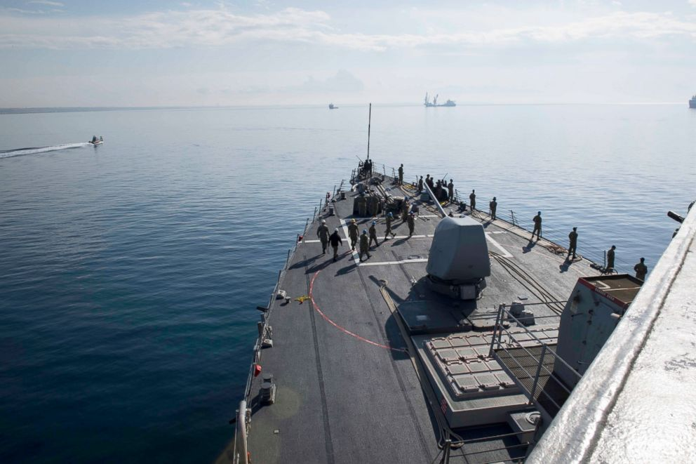 Sailors man the rails aboard the Arleigh Burke-class guided-missile destroyer USS Donald Cook (DDG 75) as the ship departs Larnaca, Cyprus, April 9, 2018.