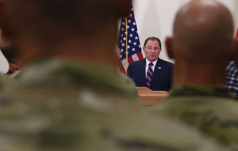 PHOTO: Gov. Gary Herbert speaks during a news conference, Nov. 4, 2018, in Draper, Utah. Military officials say a major in Utahs Army National Guard who was also the mayor of a city north of Salt Lake City was killed in Afghanistan.