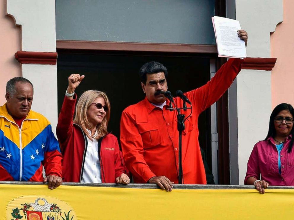 PHOTO: Venezuelas President Nicolas Maduro announces his is breaking off diplomatic ties with the United States during a gathering in Caracas on Jan. 23, 2019.