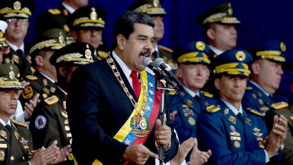 Venezuelan President Nicolas Maduro delivers a speech during a ceremony in support of the National Guard in Caracas on August 4, 2018.