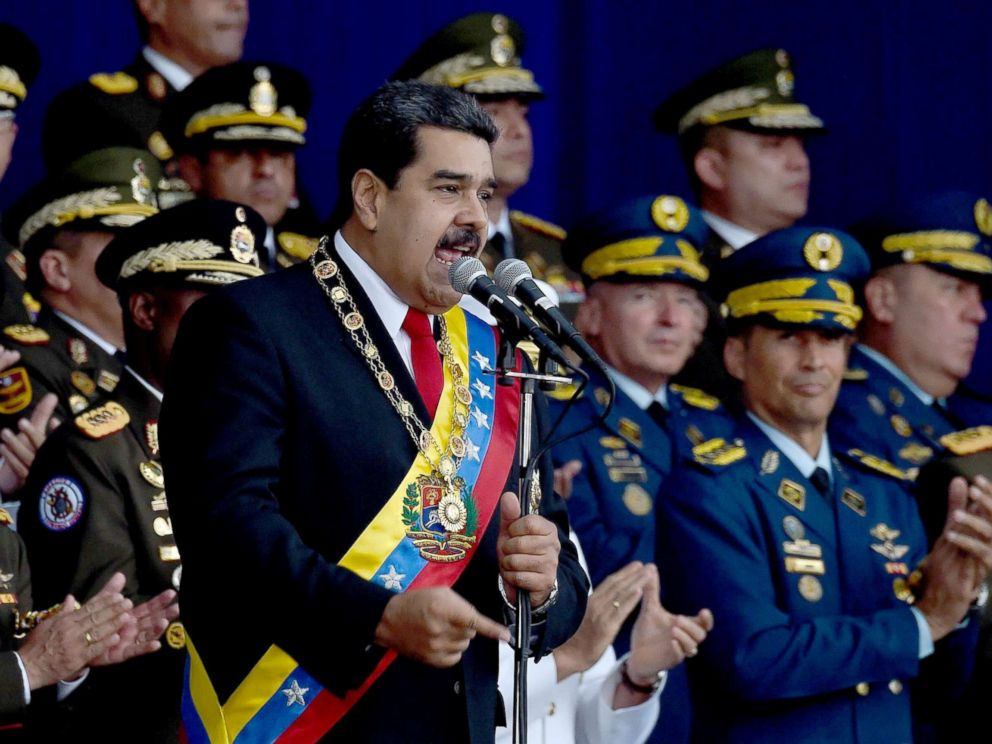 PHOTO: Venezuelan President Nicolas Maduro delivers a speech during a ceremony in support of the National Guard in Caracas on August 4, 2018.