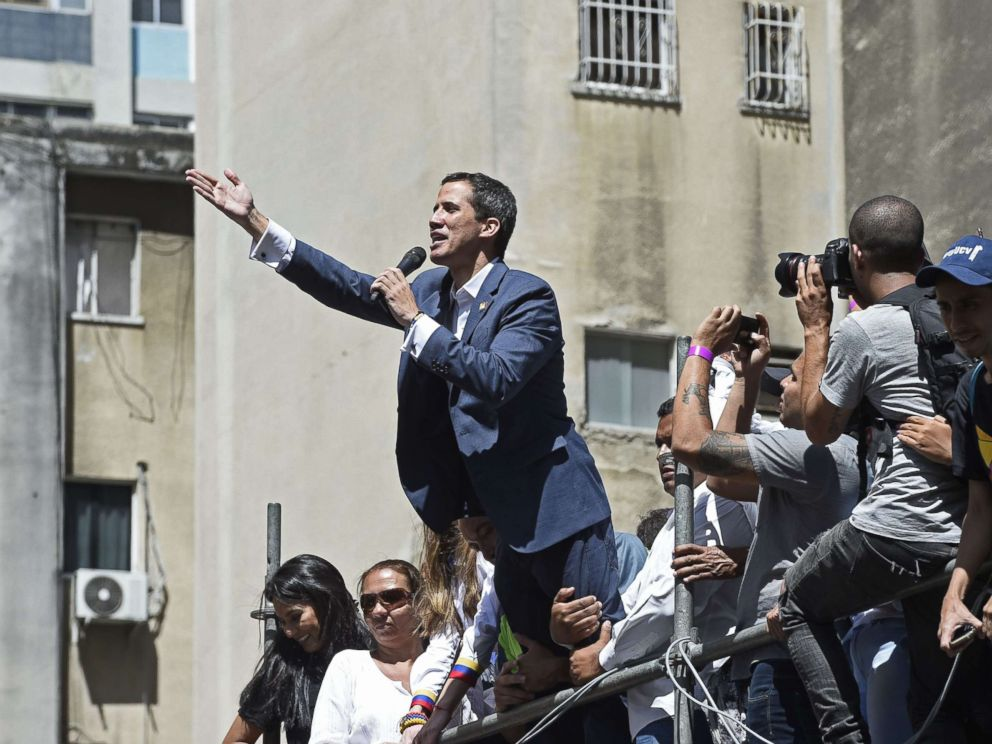 PHOTO: Venezuelan opposition leader and self-declared acting president Juan Guaido speaks during a rally to pressure the military to let in humanitarian aid, in eastern Caracas on Feb. 12, 2019.