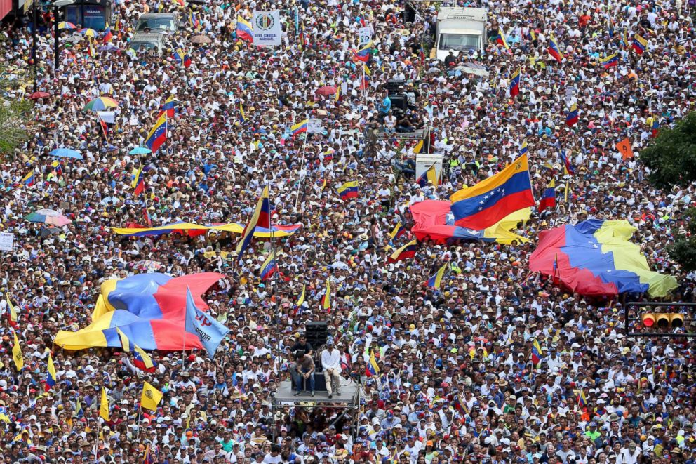 PHOTO: Thousands of protesters gather at Avenida Francisco De Miranda during a demonstration organized by Juan Guaido, Feb. 12, 2019 in Caracas, Venezuela.