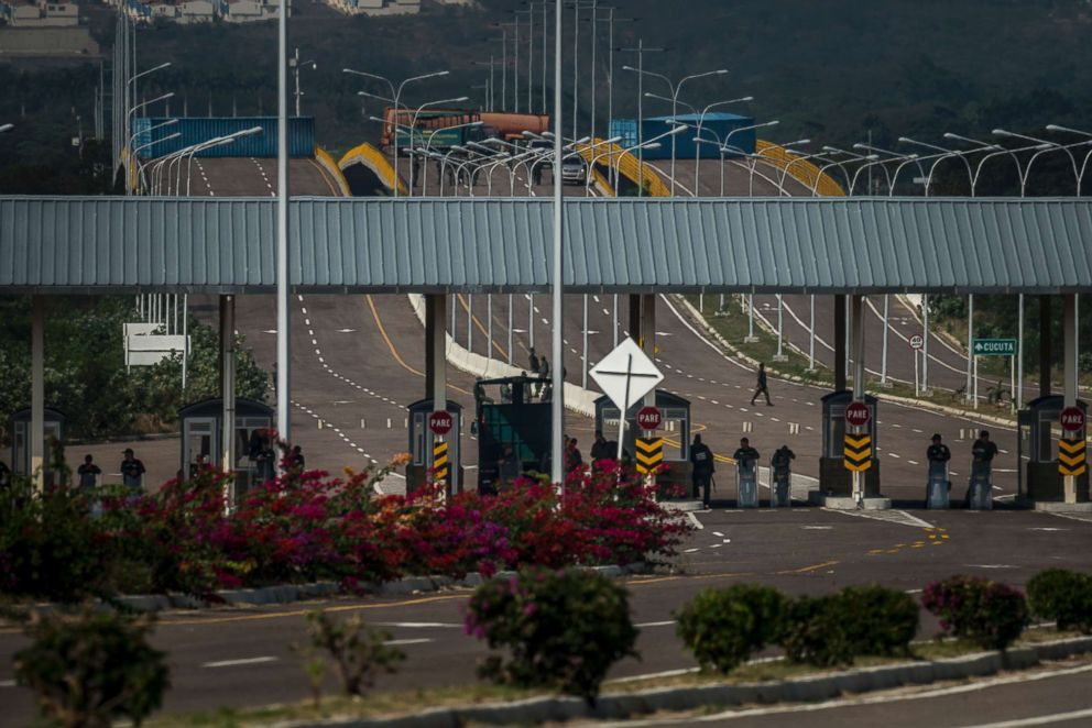 PHOTO: Venezuelan soldiers and shipping containers block the bridge leading to Cucuta, Colombia, Feb. 12, 2019.