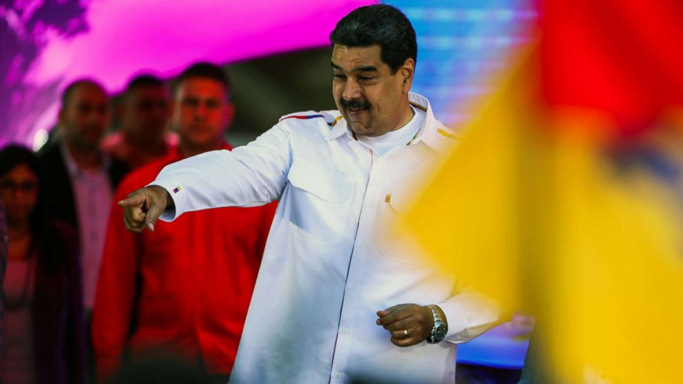 """Venezuela's President Nicolas Maduro gestures during celebrations for """"Youth Day"""" at the Bolivar Square in Caracas, Venezuela on Feb. 12, 2019."""