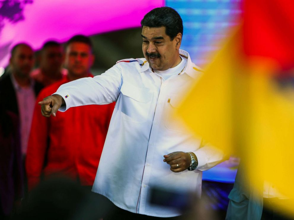 PHOTO: Venezuelas President Nicolas Maduro gestures during celebrations for Youth Day at the Bolivar Square in Caracas, Venezuela on Feb. 12, 2019.