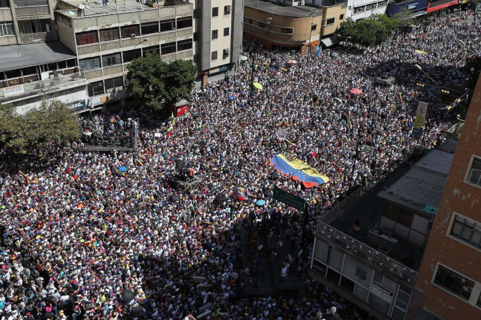 PHOTO: Hundreds of people march in Caracas, Venezuela, Feb. 12, 2019, in opposition to the government of President Maduro.
