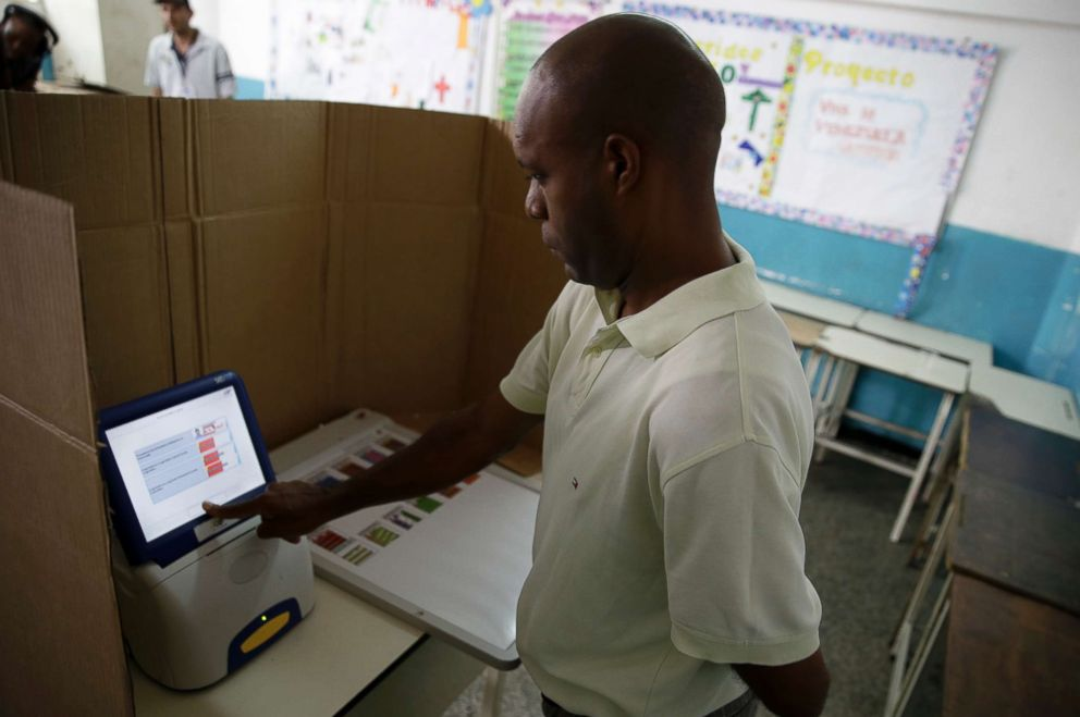 Breaking news_突发新闻:018年5月20日,委内瑞拉加拉加斯举行总统选举期间,一名男子选择了他的候选人