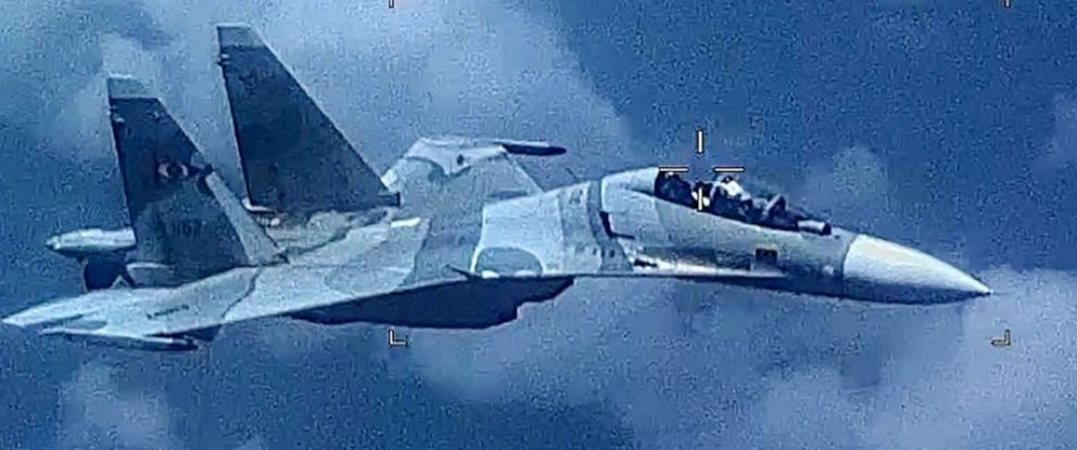 PHOTO: Image of a Venezuela SU-30 Flanker as it aggressively shadowed a U.S. EP-3 Aries II at an unsafe distance in international airspace over the Caribbean Sea on July 19, 2019, jeopardizing the crew and aircraft.