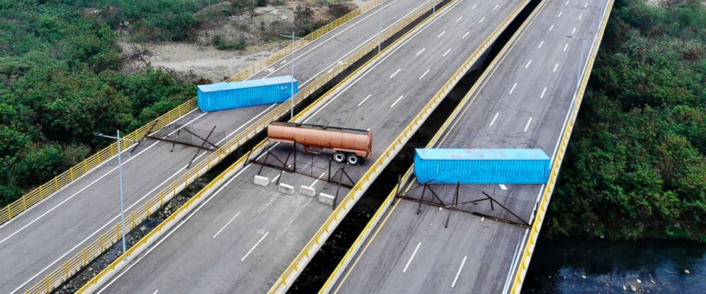 PHOTO: An aerial view of the Tienditas Bridge, in the border between Cucuta, Colombia and Tachira, Venezuela, after Venezuelan military forces blocked it with containers on Feb. 6, 2019.
